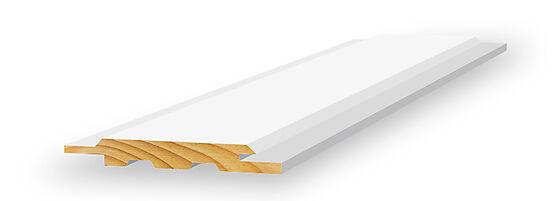Skyggepanel skrå endepløyd 13x120x4850 mm hvitmalt furu