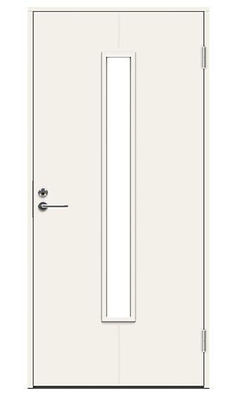 Uno ytterdør med glass 90x210 cm høyrehengslet hvit