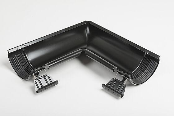 Vinkel innvendig med skjøt stål 125 mm sort
