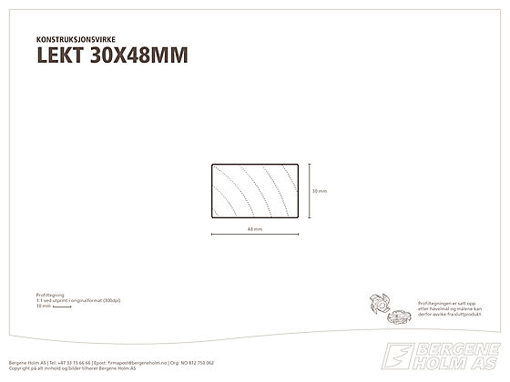 Lekt/rekke gran/furu kl 1 30x048 mm