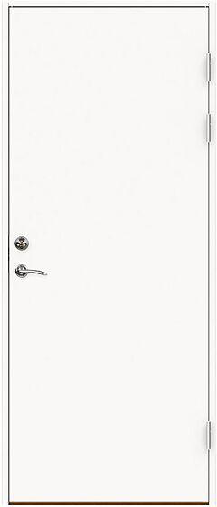 Branndør laminat 100x210 cm høyrehengslet hvit