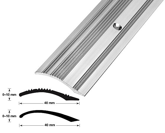 Nivålist nr. 6 sølv blank 2 meter borret m/skruer