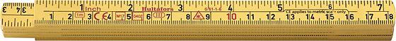 Tommestokk 1 meter glassfiber G61-1-6 metrisk gradering/engelsk tomme