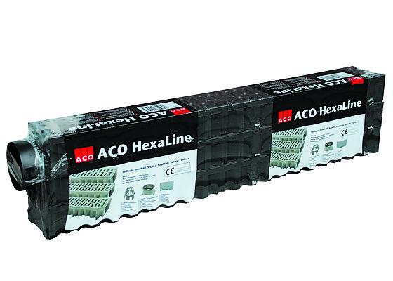 Drensrenne aco hexaline garasjepakk (3 stk renne A 1,0 m inkl tilbehør = 1 stk)