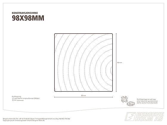 Konstruksjonsvirke C24 98x98 mm impregnert furu