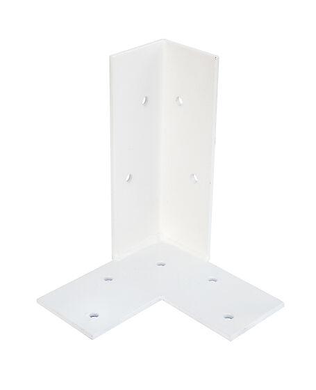 Stolpefot m/plate hjørne hvitmalt