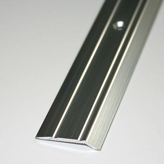 Nivålist nr. 5 sølv blank 1 meter borret m/skruer