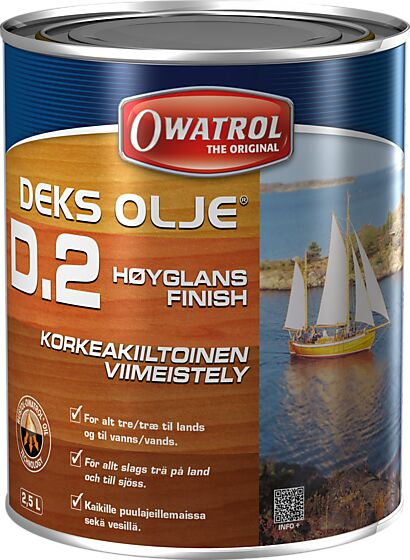 Deksolje D2 finish-olje høyglans 2,5 liter