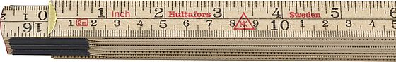 Tommestokk 2 meter tre 61-2-10 metrisk gradering/engelsk tomme