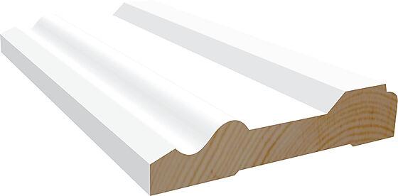 Dørsett 15x58 mm hvitmalt furu