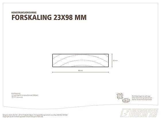 Justert forskalingsbord 23x98 mm (uhøvlet i side) gran/furu