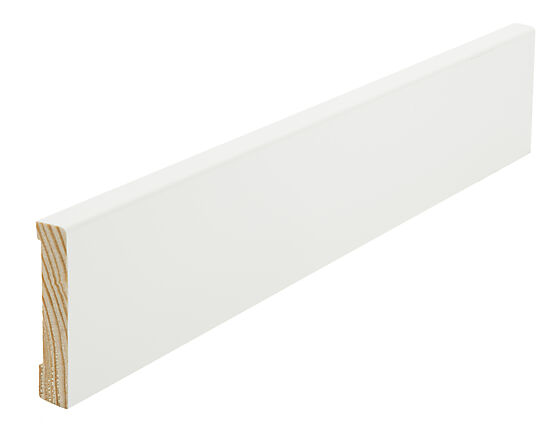Gulvlist furu hvit rund kant 12x58x4400 mm S0500N