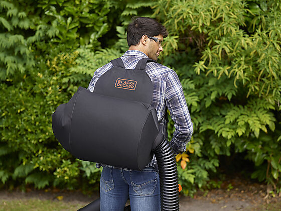 Black+Decker løvblåser 2900W 3-i-1 med ryggsekk