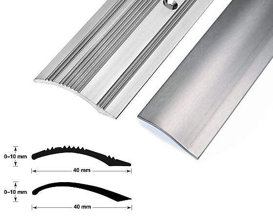 Nivålist nr. 6 sølv blank 1 meter borret m/skruer