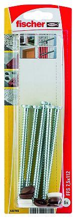 Montasjeskrue ffs mh 7,5X112 mm bk 6 stk pr bk nv fischer