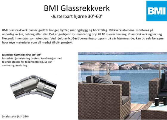 Glassrekkverk hjørne justerbart 30-60°