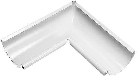 Takrenne vinkel 02 innvendig 90° stål hvit 126 mm