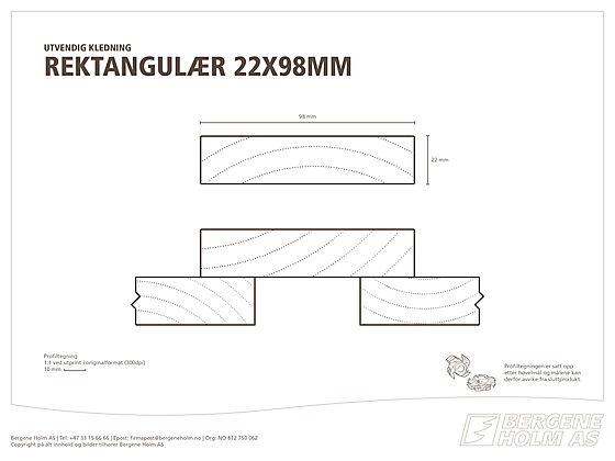 Rektangulær kledning 22x98 mm grunnet gran