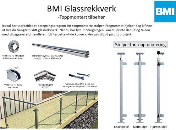 Midtstolpe Icopal Glassrekkverk