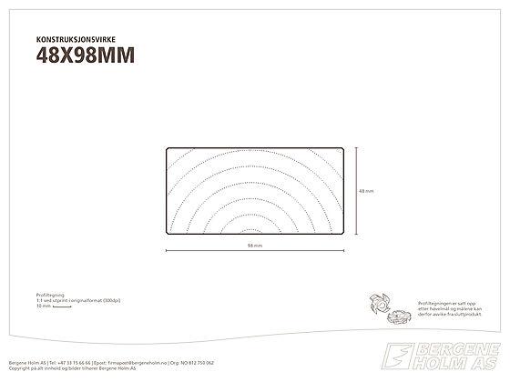 Konstruksjonsvirke C24 48x98 mm ubehandlet gran