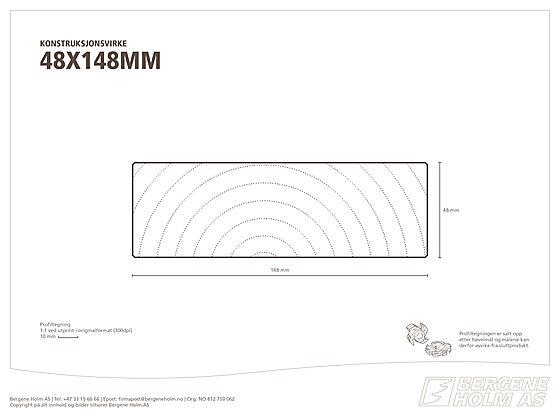 Konstruksjonsvirke C24 48x148 mm impregnert furu